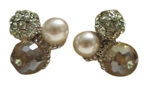 NEW Super Cute Neutral Tone Crystal Disco Ball Stud Earrings Faux Pearl Titanium Post