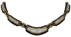 David Webb David Webb Black Enamel Diamond Gold Necklace
