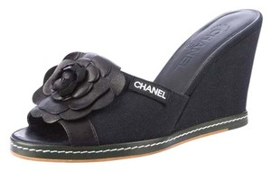 Chanel Sandal Wedge Black Sandals