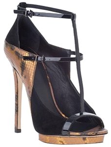 Brian Atwood T-strap Sexy Black & Gold Pumps