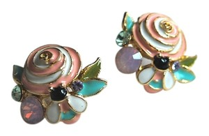 Other NEW Super Cute Gold Filled Flower Pink Rose Bee Cubic / Crystal Stud Earrings Titanium Post