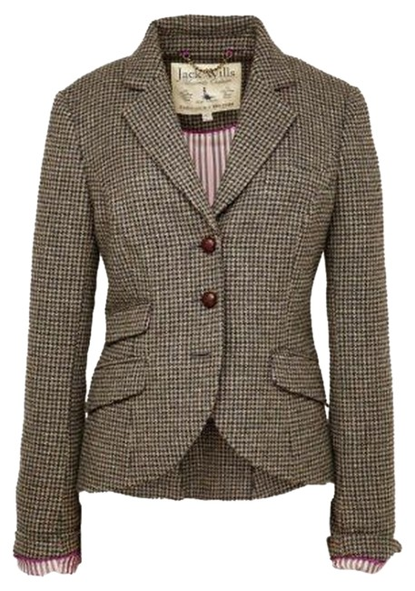 Item - Black and White Houndstooth Tweed Austerberry Blazer Size 4 (S)