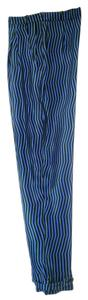 Kenzo Silk Mod Stripe Trouser Pants Blue Multi-Color