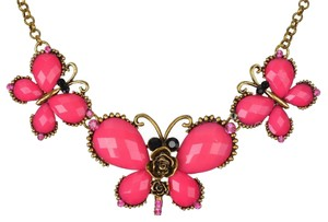 New Butterfly Bib Necklace Pink Brass Large Pendants J1830