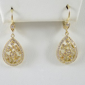 Penny Preville Penny Preville 18K Yellow Gold .57tcw Pave Diamond Scroll Pear Drop Earrings - Retail $4950