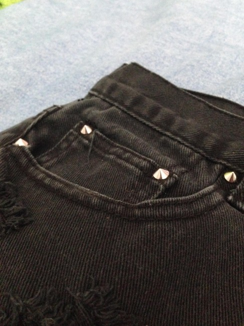 Forever 21 High Waisted Shorts High Waisted Spikes Studs Studded Studded Shorts Denim Shorts-Dark Rinse