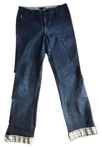 Burberry Womens Straight Leg Jeans-Dark Rinse