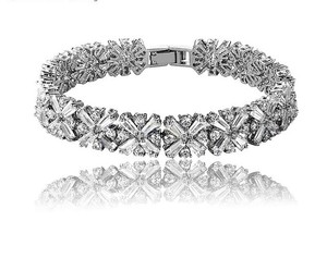 Gorgeous Bridal Cubic Zirconia Bracelet Rhodium Plated