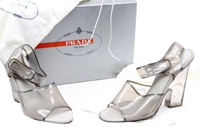 Prada Chunky Heel Clear Grey Open Toe Clear/Silver Pumps