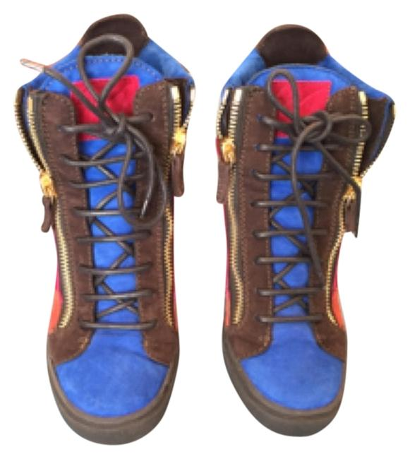 Item - Red Burnt Orange Blue and Brown Boots/Booties Size US 9 Regular (M, B)