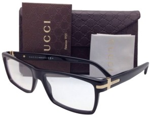 Gucci New GUCCI Eyeglasses GG 1053 807 55-15 Black & Gold Frame w/ Clear Demo Lenses