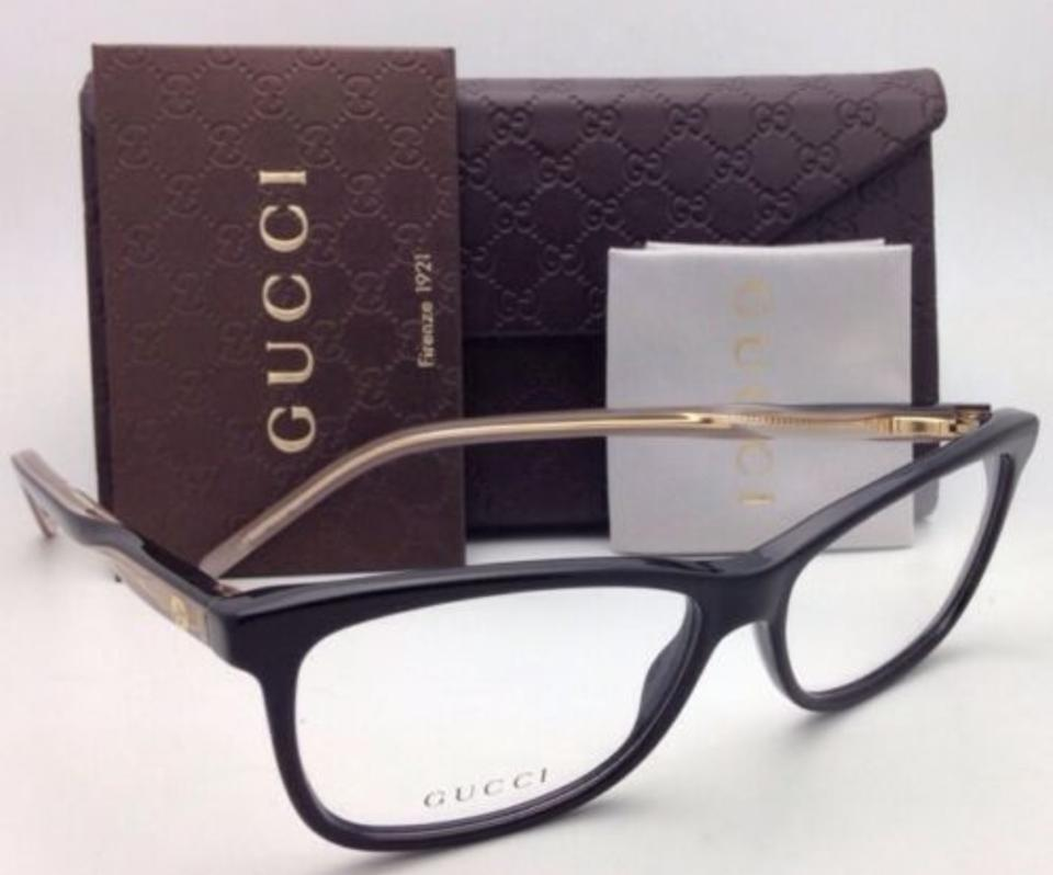 bb7fd29376 Gucci New GUCCI Eyeglasses GG 3643 0WM 52-14 Black   Gold w Clear.  123456789101112