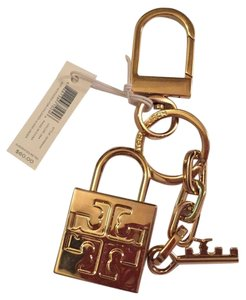 Tory Burch Alamar Gold Tone Bag Charm Key Ring