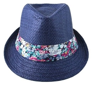 Other Navy Blue Floral Accent Summer Hat Fedora