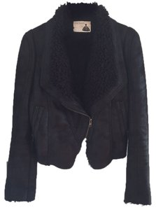 Black Vegan Suede Leather Shearling Jacket Nasty Gal Soft Zippers Zip Up Look Look Leather Jacket