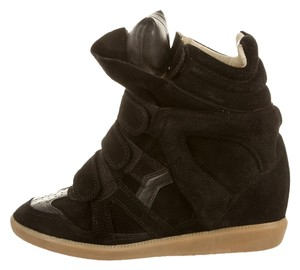 Isabel Marant Suede French Chic On Sporty Black Wedges