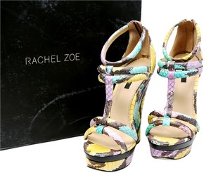 Rachel Zoe Yellow Blue Purple Painted Multi/Yellow/Blue/Purple/Grey Wedges