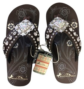 Montana West Wedge Studded Bling Brown Sandals