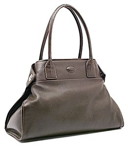 Tod's Pebbled Leather Tote in Dark Brown