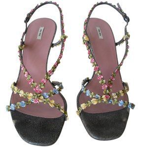 Miu Miu Grey and multi color Sandals