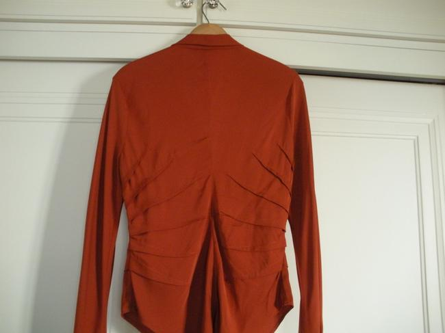 Catherine Malandrino Silk Fitted Top Rust