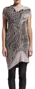 Rick Owens Crochet Knitwear Open Knit Sweater Dress Pullover Jumper Edgy Full 2013 Island Collection Taupe Gray Grey Runway Sale Tunic