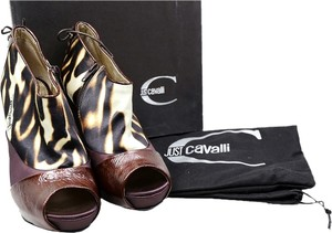 Just Cavalli Brown Gold Ankle Peep Toe Pumps Brown/Black/Gold Boots