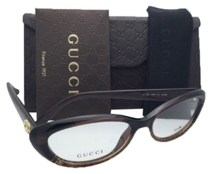 Gucci GUCCI Eyeglasses GG 3566 W9B 52-16 Brown & Gold Frame w/ Clear Demo Lenses