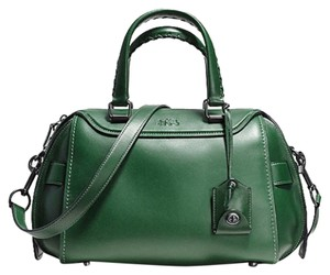 Coach Copper/Racing Glovetanned Leather Satchel in BLACK COPPER/RACING GREEN