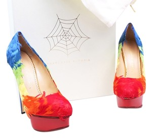 Charlotte Olympia Dolly Feathers Blue Red/Yellow/Blue/Orange/Green Platforms