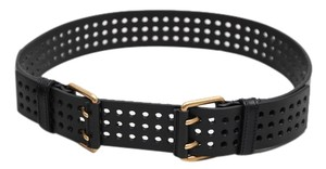 Saint Laurent Yves Saint Laurent Ladies Perforated Black Leather Belt - Size 28