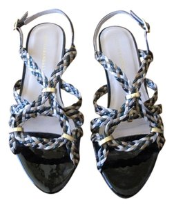 Loeffler Randall Black, ivory, green, tan Sandals
