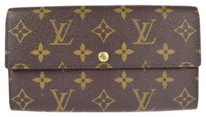 Louis Vuitton Auth LOUIS VUITTON Long Bifold Wallet Purse Monogram Canvas Brown Vintage Sarah