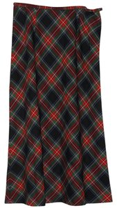 Pendleton Skirt Black, Red, Green, Blue Plaid