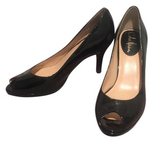 Cole Haan Peep Toe Comfort Black Patent Pumps