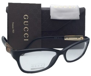 Gucci New GUCCI Eyeglasses GG 3673 4UA 53-15 130 Black & Bamboo Frames w/ Clear Lenses
