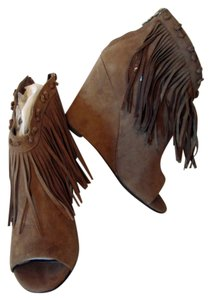 Ash Fringe Wedge New Taupe Boots