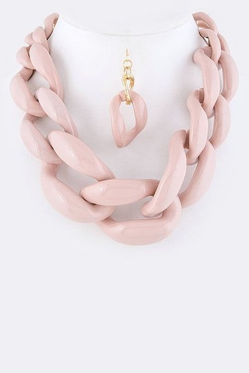 Unknown Chunky Dusty Pink Chain Link Statement Necklace Set
