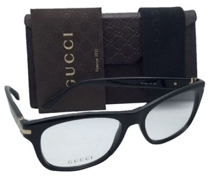 Gucci New GUCCI Eyeglasses GG 1052 807 53-17 140 Black & Gold Frame w/ Clear Demo Lenses