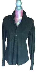 Ralph Lauren Suede Vintage Button Down Shirt Olive Green