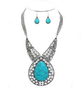 Boho Chic Silver Chain Turquoise Stone Crystal Accent Necklace