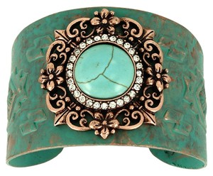 Other Boho Chic Vintage Metal Rhinestone Crystal Accent Turquoise Stone Tribal Cuff Bracelet Bangle