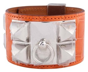 Hermès Orange Alligator Collier de Chien Bracelet
