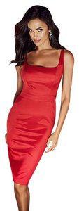 red shiny bodycon dress midi small xs Work Holiday Christmas Knee Work Dress
