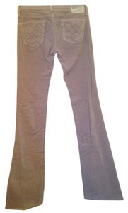 AG Adriano Goldschmied Velvet Soft Stretchy Embellished Boot Cut Pants Nude/Beige