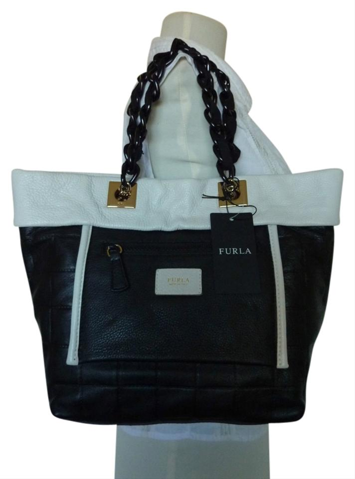 a8c598672e5a Furla Black White Quilted Small Tribe Chain Black White Leather Tote ...