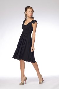 Watters Black Chiffon 916 Feminine Bridesmaid/Mob Dress Size 10 (M)