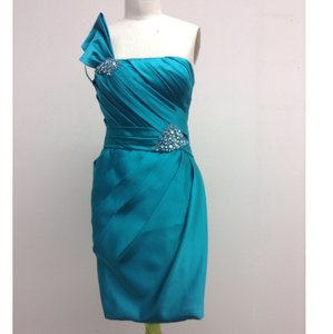 Pronovias Turquoise Satin Honor Formal Bridesmaid/Mob Dress Size 8 (M)