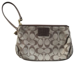 Coach Large Signature Wristlet in Khaki/Bronze
