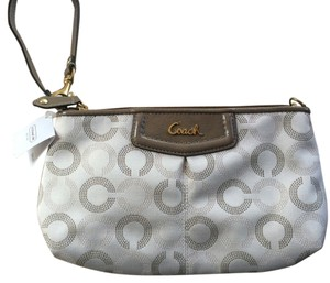 Coach Large Sateen Ashley Dot Op Art Small Handbag Wristlet in Light Khaki Taupe